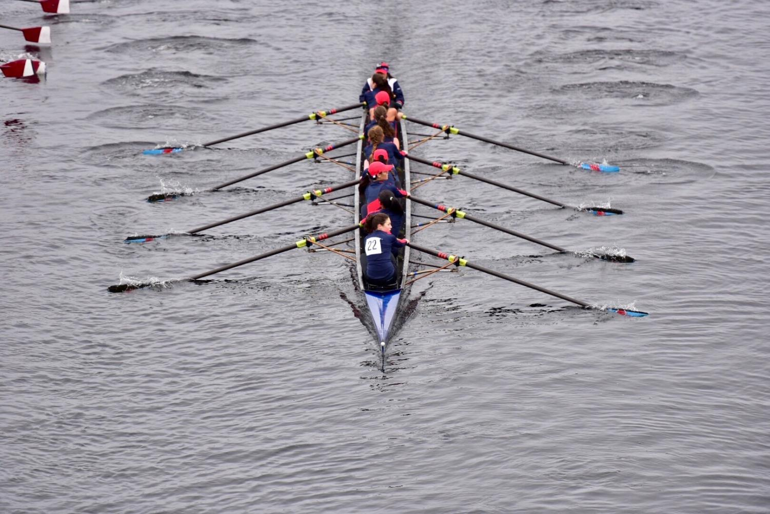 The Brookline girls fall crew team competes during the Head of the Kevin race on the Charles River. According to junior Isabelle Shah, the school does not grant sports credit for fall crew.