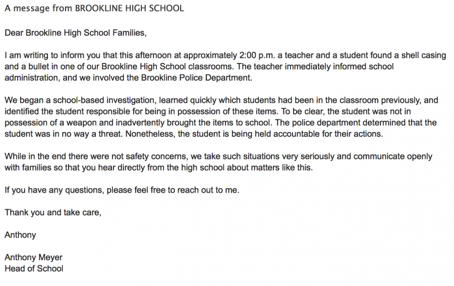 A letter sent out to all high school families by headmaster Anthony Meyer describes the incident.