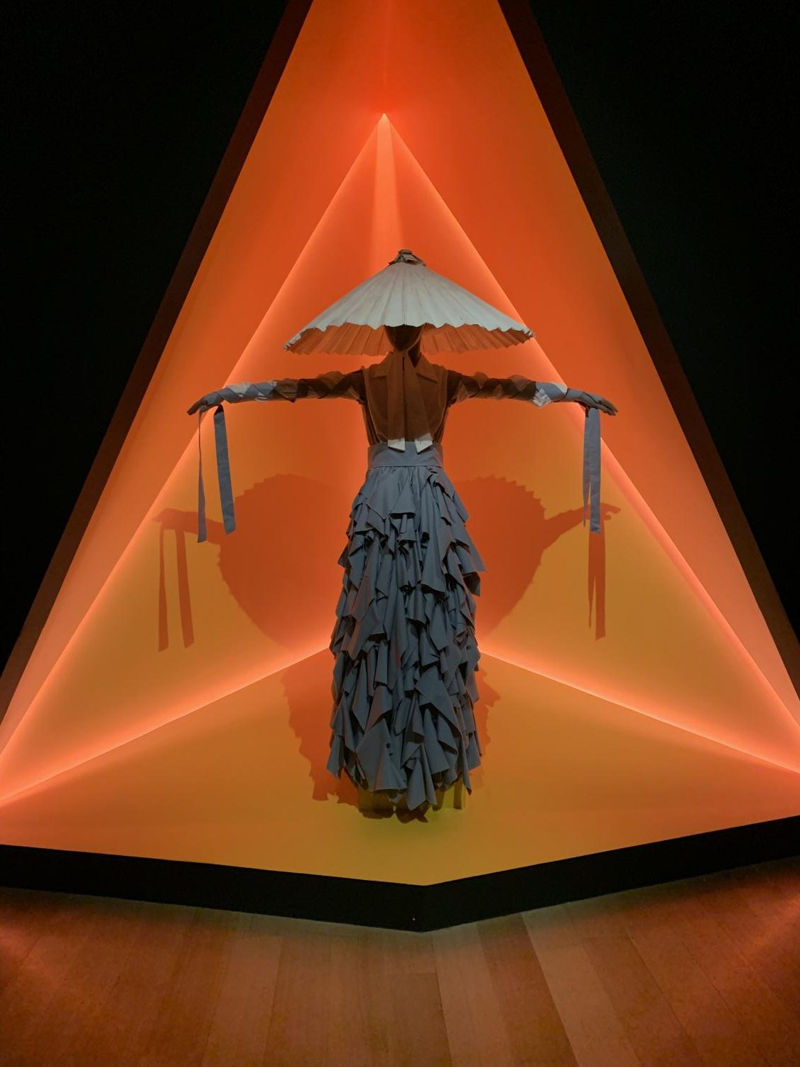 """Displayed at the MFA's """"Gender Bending Fashion"""" exhibit, this dress was designed by Alessandro Trincone. The garment is intended to be worn by a man."""