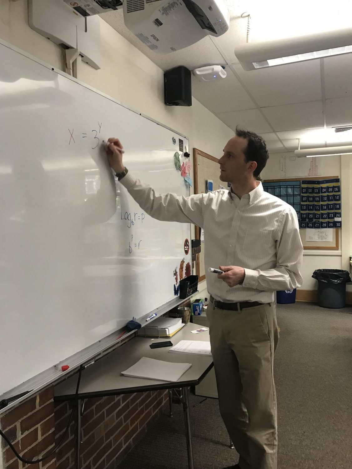 Math teacher Áron Boros connects with students after taking over classes in mid-February