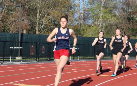 Sophomore Sofia Nagle sprints ahead at the recent freshman-sophomore track and field meet at Franklin High School. According to sophomore Vivian McMahon, the track and field team has a very strong freshman and sophomore class.