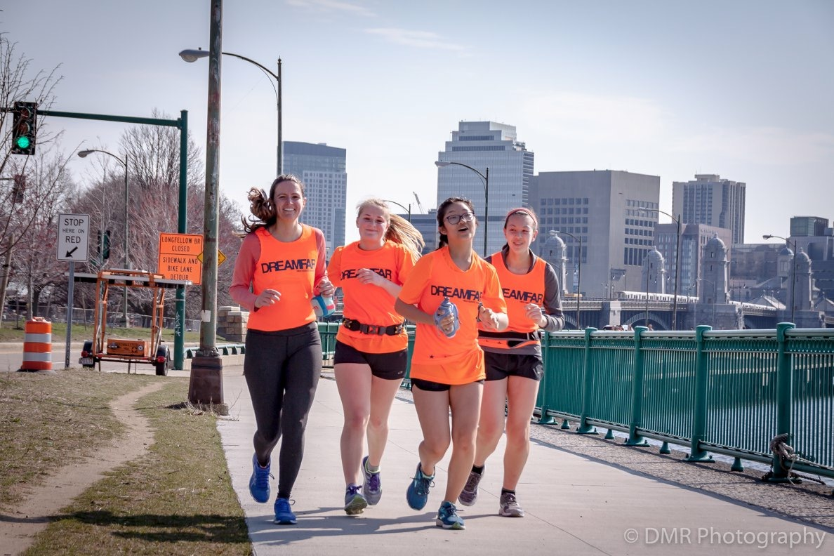 Junior Kate Staff (second from the left) participated in the Dreamfar marathon last May. According to Staff, the training starts off easy and builds up over time.