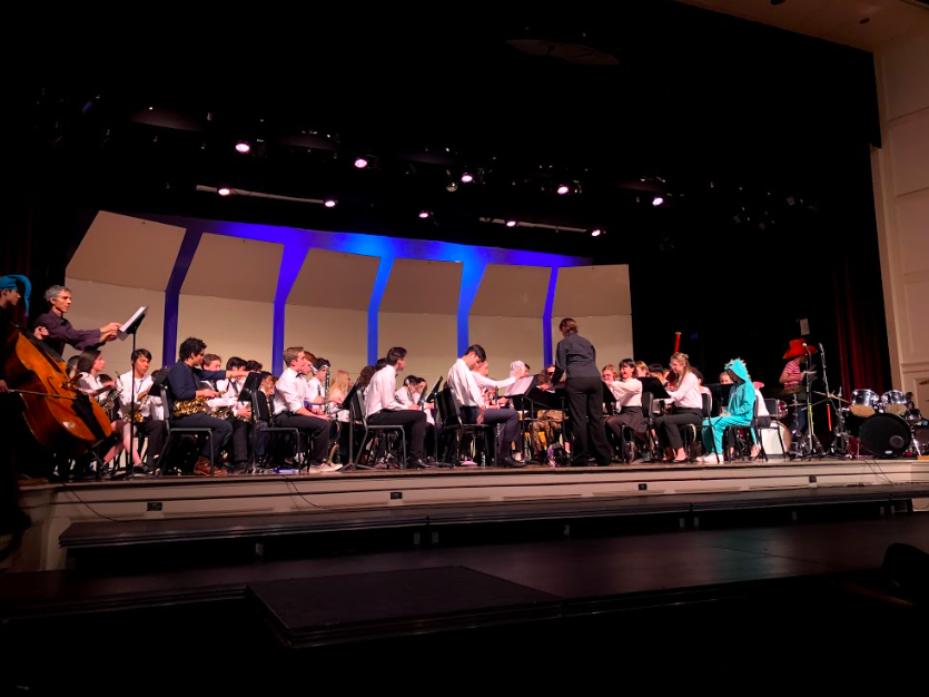 Jazz band teacher and conductor Carolyn Castellano led the concert band during the Band Night concert on May 16, 2019.