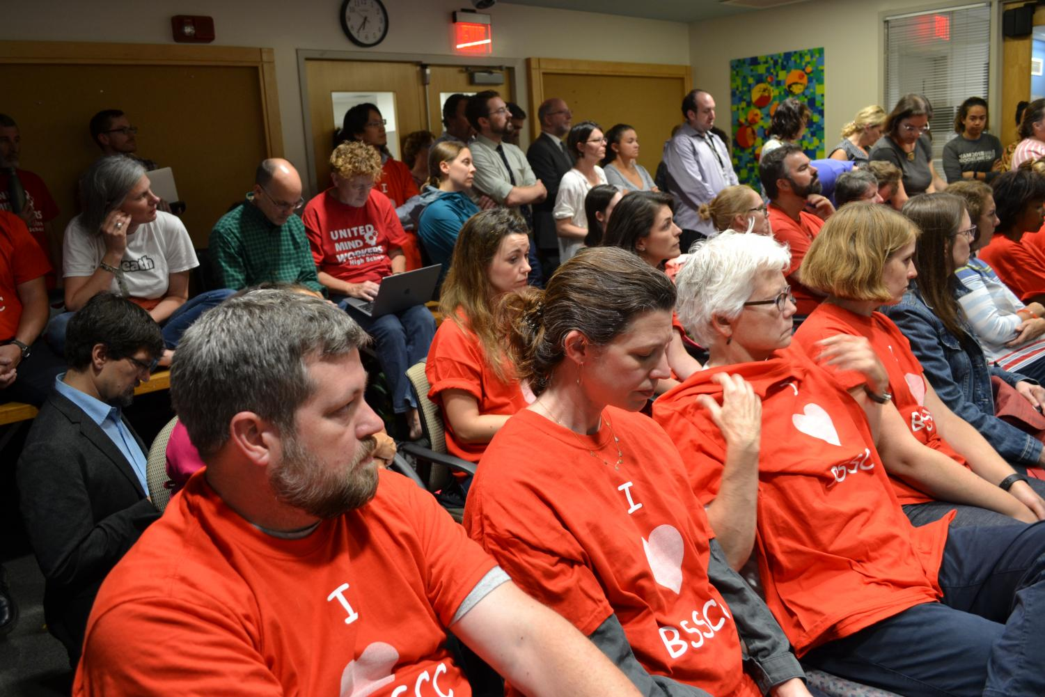 BSSCC supporters and educators sit in on a school committee meeting to advocate for the childcare center. The program will be without a location in 2020 if adjustments are not made.