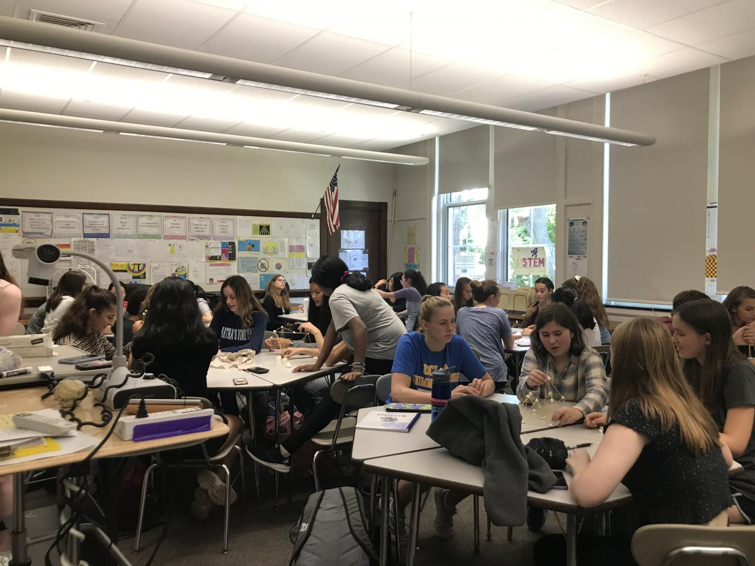 Young women hard at work during a recent WiSTEM meeting. They meet every X-block in room 261.