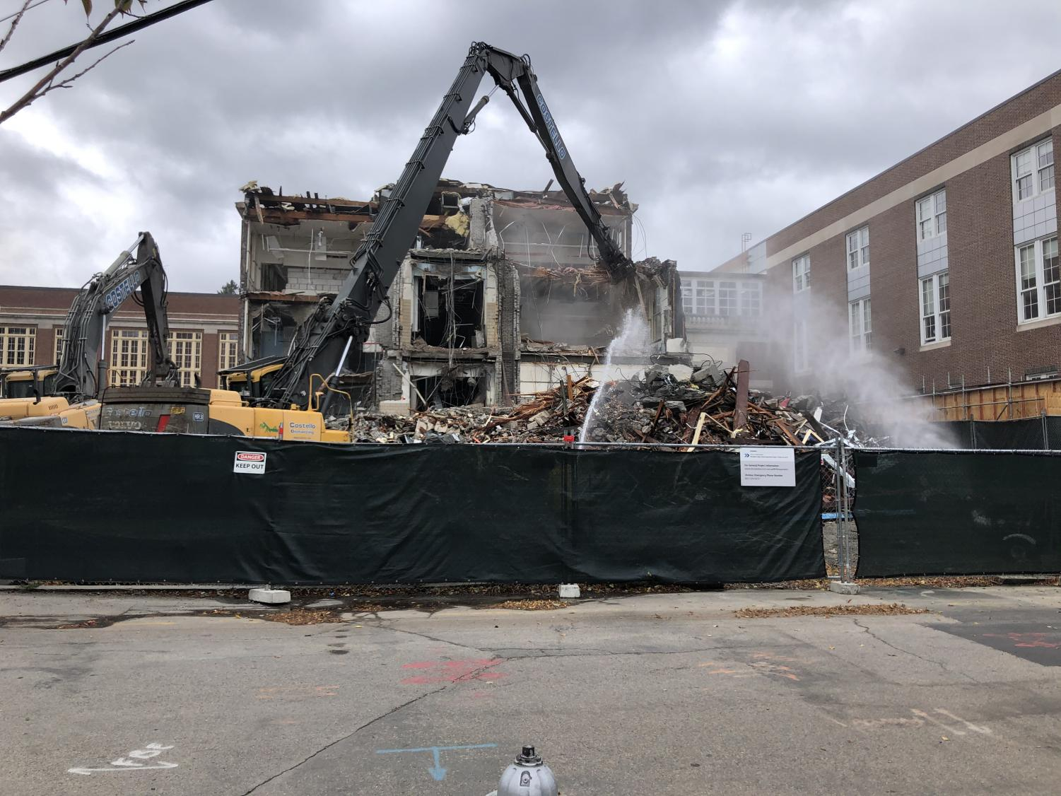 On Oct. 11, a crane took down part of the high school. These renovations have forced sports teams and athletes to adjust to new schedules.