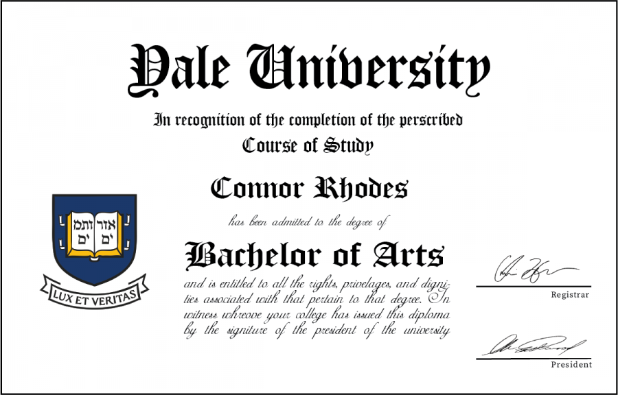 Rhodes has not yet graduated from college (or high school), but his future at Yale is set in stone. This degree is a prototype for what he shall receive in six short years.