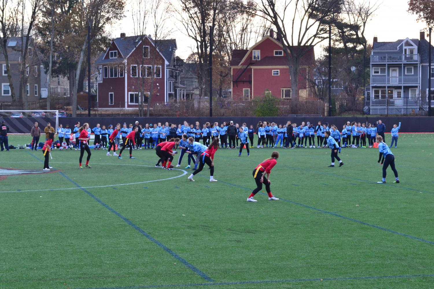 After an early touchdown by the blue team, the red team came back with a decisive 18-6 victory in this year's Powderpuff girls flag football game.