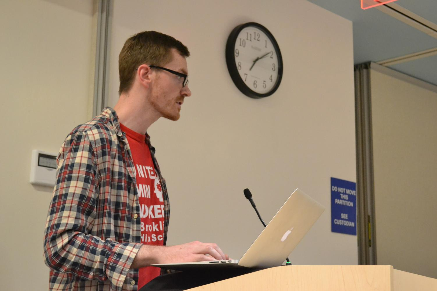Math teacher David Knott speaks at a School Committee meeting. According to an MIT tool, paraprofessionals earn less than the living wage in the county.
