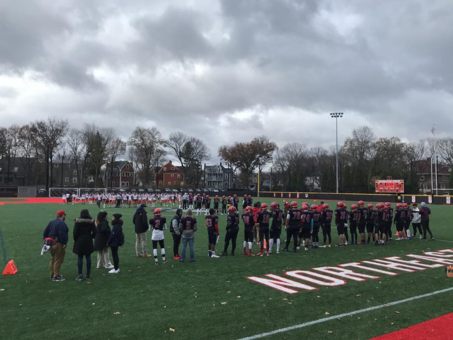 The Brookline High School Warriors lost 42-8 to the Newton North Tigers during the 125th annual Thanksgiving football game.