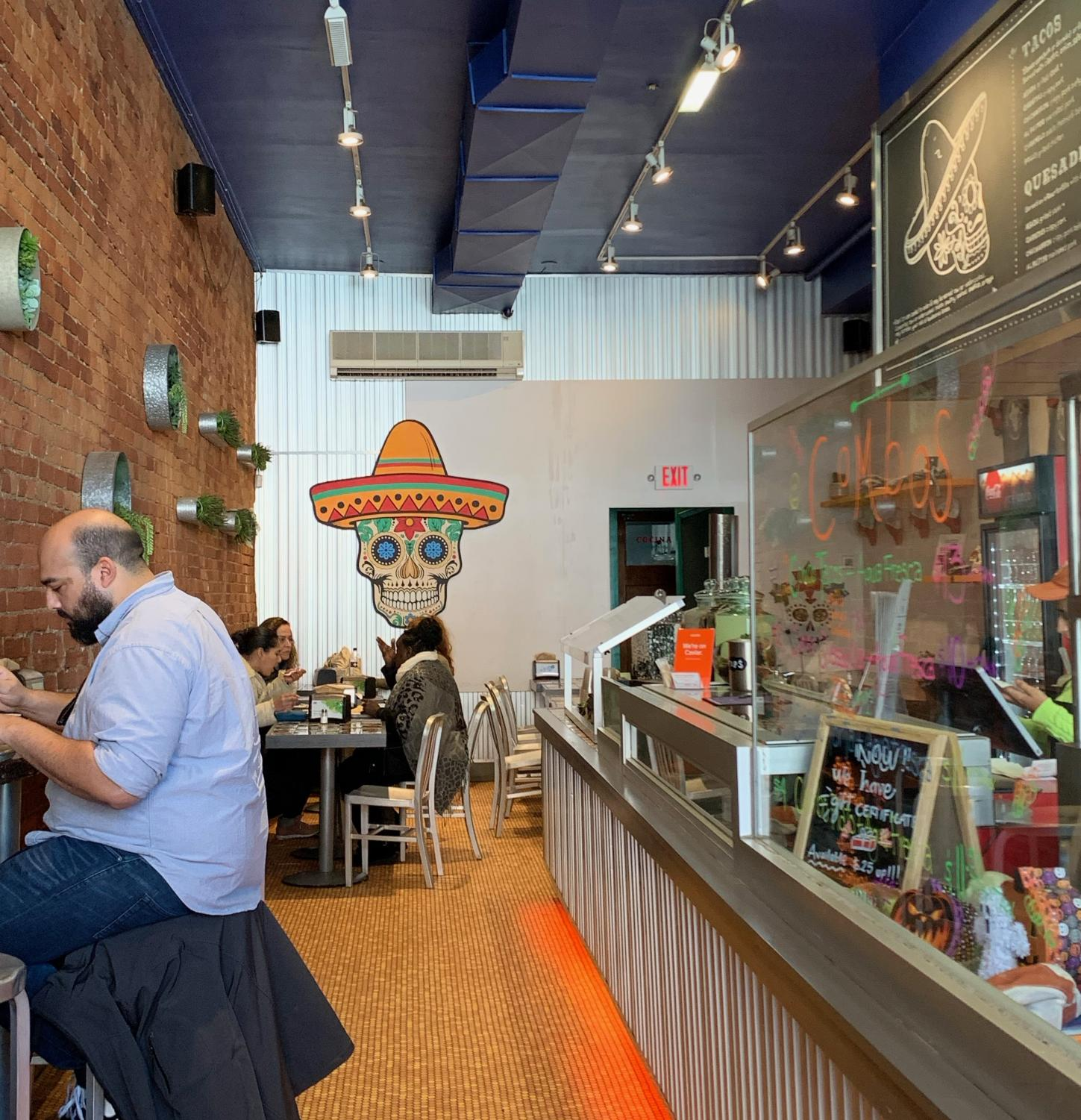 The comfortable environment of the new taqueria provides a productive spot for students to work and also offers affordable prices for delicious food.
