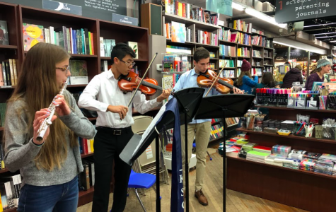 Student musicians perform at the Brookline Booksmith as part of the First Light celebrations.