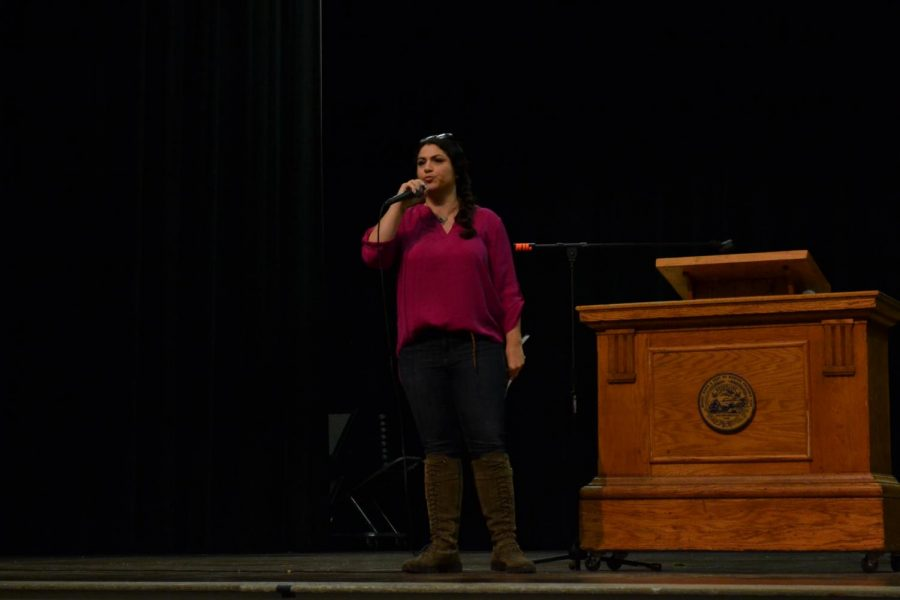 Physics teacher Graciela Mohamedi spoke during during the C and F block assemblies about her experiences as a Latina woman and the power of a name and of identity.