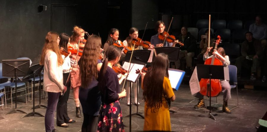 Orchestra students perform an arrangement of Christina Perri's