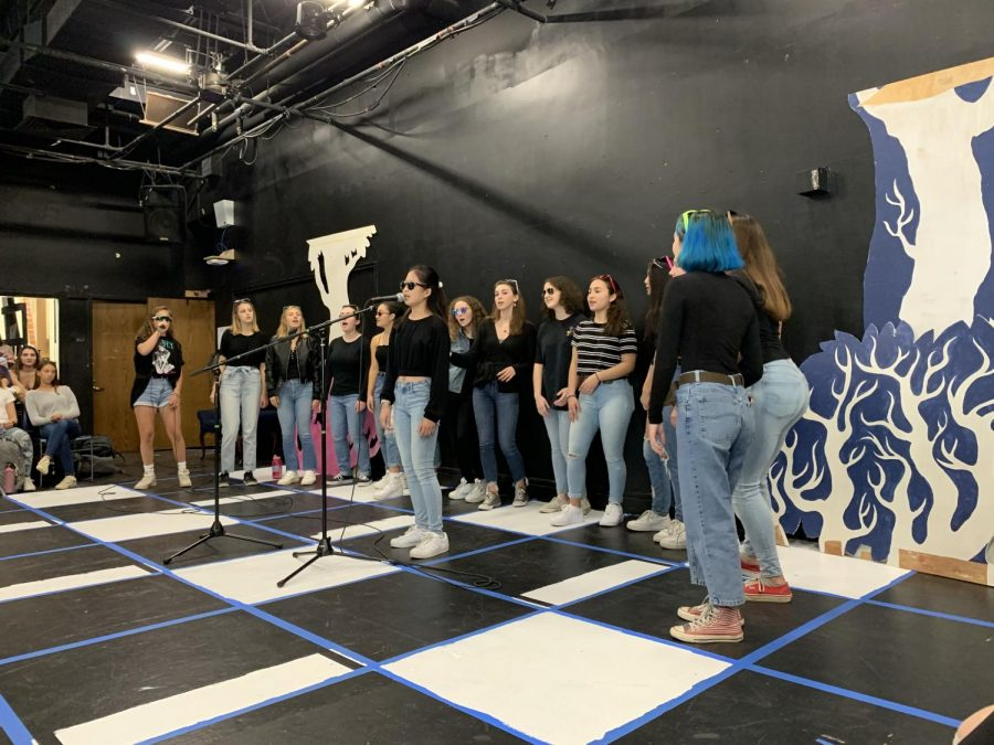 Senior Iris Yang performs at an annual X-block concert with Perfect Pitch to kick of the new school year. The event featured all three of the student-run a cappella groups.
