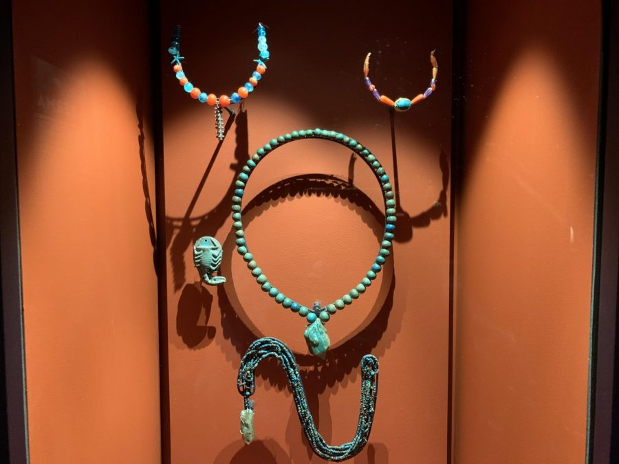 This artifact is from the Nubia Exhibit at the MFA. It is an ancient necklace that was displayed among other intricate jewelry.