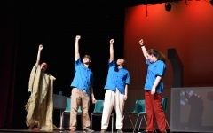 Jean (junior Eve Jones) and her bowling team (sophomores Grace Thompson, Isaac Morse and Joann Huang) in one of the final moments of the show.