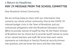 The first paragraph of the statement the Brookline School Committee released to the public today.