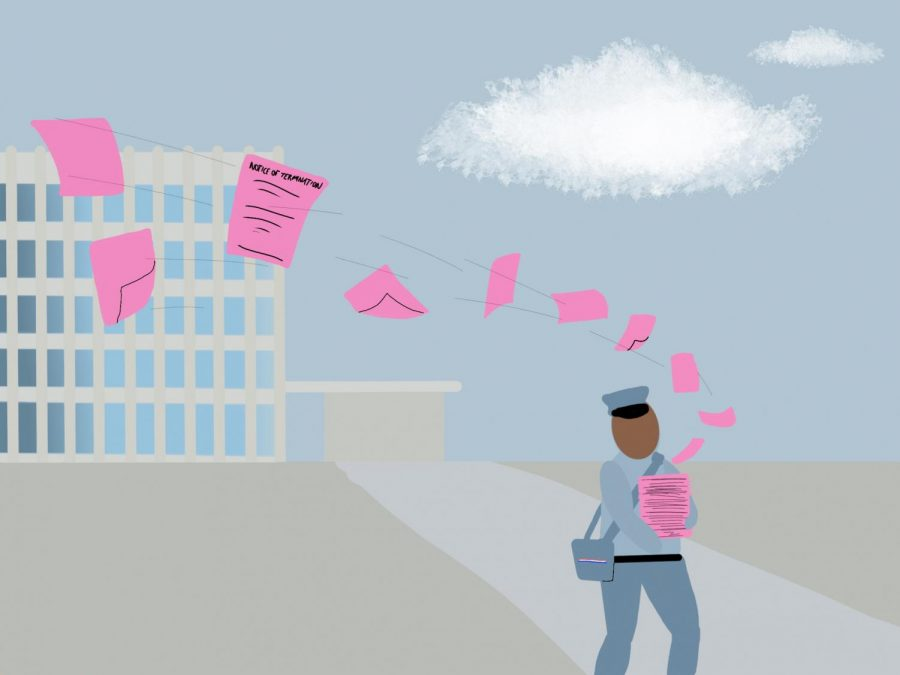 Over 300 pink slips were issued to district faculty yesterday, laying off all non-tenured teachers, paraprofessionals, librarians, visual arts teachers and many more. The district made these cuts to allow for more flexibility in the fall.