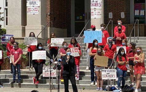 Students and educators gather together to support the over 300 teachers who were issued pink slips in the last few days.