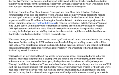 In his letter, Lummis outlined the reinstating of Brookline educators.