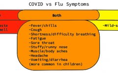 Pictured above is a venn diagram of COVID-19 and flu symptoms. Nurses at the high school are advising students to practice social distancing and to stay home when sick, even when it seems like something small to prevent any spread.