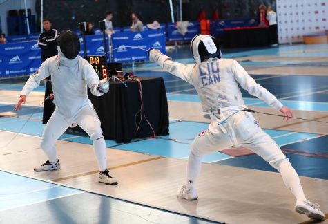 World-class fencer Patrick Liu (right) fences Simon Poon (left) at the Canada Cup. He has placed 5th in the under 20 age group out of more than 50 of the world's top fencers in the Junior World Cup.