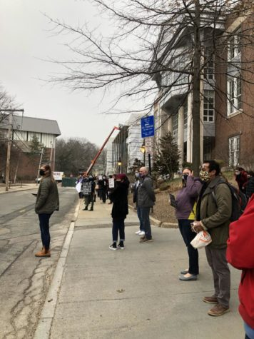 Brookline Community members rallied in front of the high school on March 18 in response to increasing violence against Asian Americans.