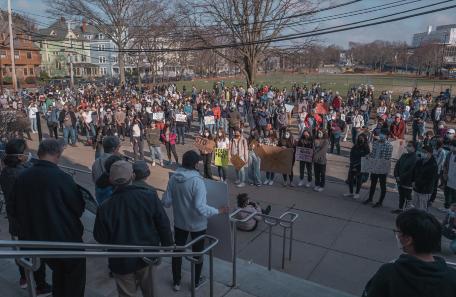 On+March+26+at+4+p.m.+community+members+gathered+at+the+high+school+to+honor+the+victims+of+the+recent+racially-motivated+shootings+in+Atlanta.+The+vigil+featured+many+guest+speakers+who+shared+their+experiences+of+hate+and+advocated+for+change