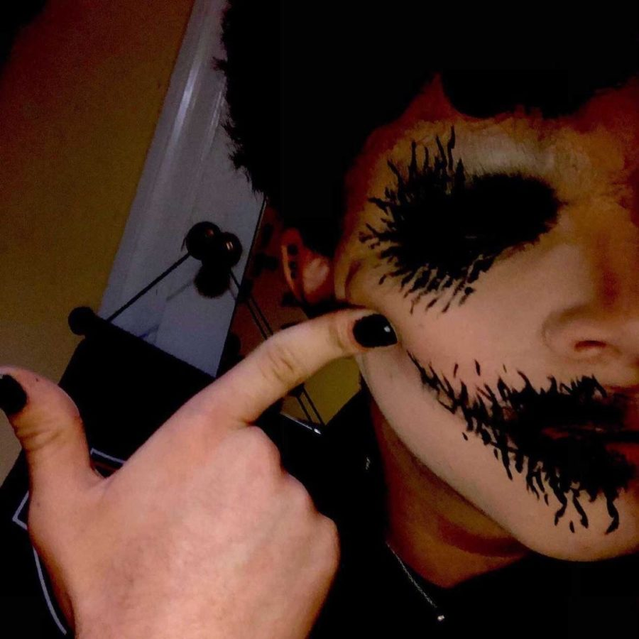 Krakowsky experiments with surrealist makeup designs to create a gaunt and unsettling look.