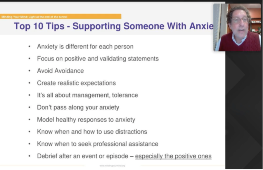 At the Light at the End of the Tunnel: Strategies and Resources for the Transitions Ahead event, Jon Mattleman presented a slideshow helping parents and students alike with resources to deal with their anxiety