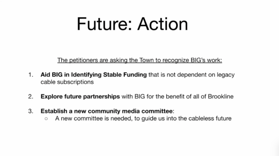 Brookline Interactive Group (BIG) Board Chair Daniel Saltzman and BIG media affiliate Bonnie Bastien presented a slideshow presentation advocating for Warrant Article 40, which would strengthen the bond and communication between the BSC and BIG