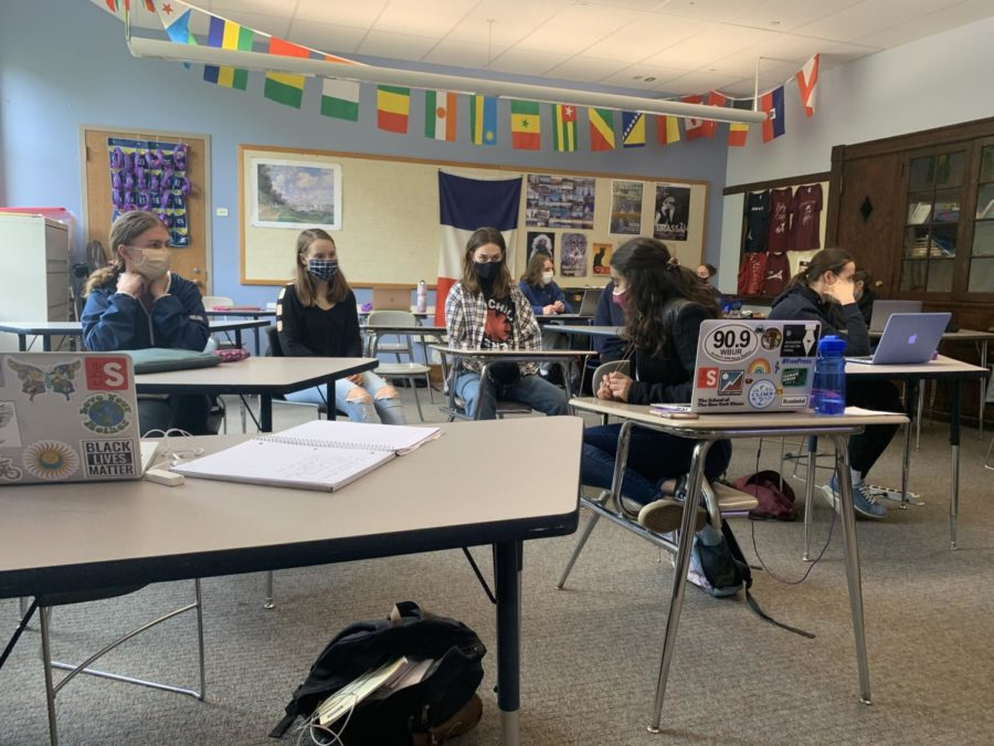 Students spent much of the day discussing issues of racial injustice in their classrooms. The World Language department encouraged students to have these discussions in their target language.