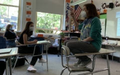 Betsy Davis, who teaches in her French classrooms and serves as the high school's International Student Adviser recently received the Brookline Education Foundation's (BEF) Ernest R. Caverly Award.