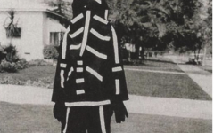 This a Halloween costume that was made by Burton's mother, which has inspired his animation aesthetic.