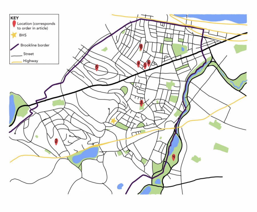 A comprehensive map of Northern Brookline, with important locales.