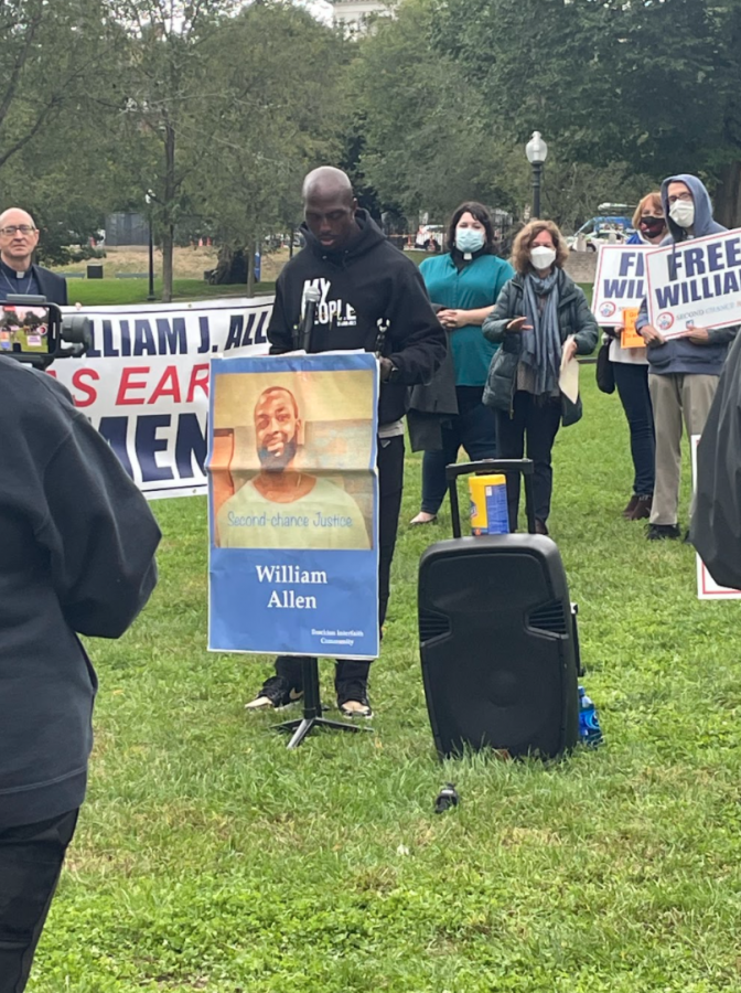 Devin McCourty and others spoke at the protest advocating for the clemency William Allen in the Boston Commons on October 5th.